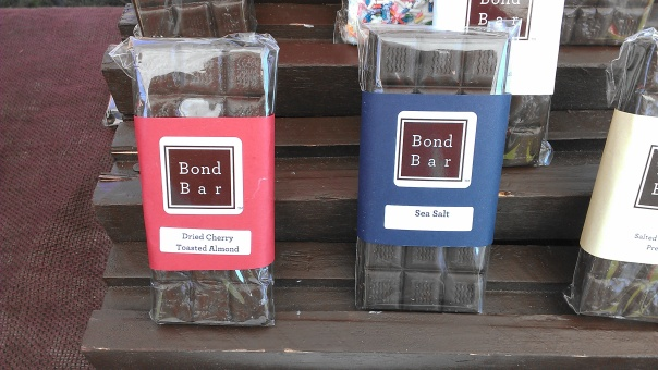 Each Bond Bar contains as much chocolate as 2-3 typical sized chocolate bars. Two of the vegan bars are displayed.