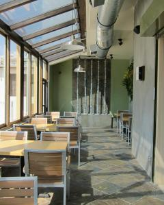 The inside patio is a lovely place to sit day or night.