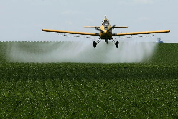 Crop dusting a conventional soybean field. Non-organic soybean fields require vast amounts of fertilizers and pesticides that contaminate the surrounding environment (and our bodies).
