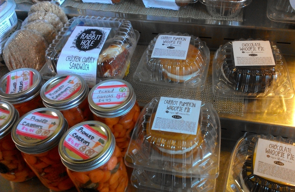 Vegan desserts line a refrigerated case inside. Also available are homemade pickled vegetables, sandwiches, and more.