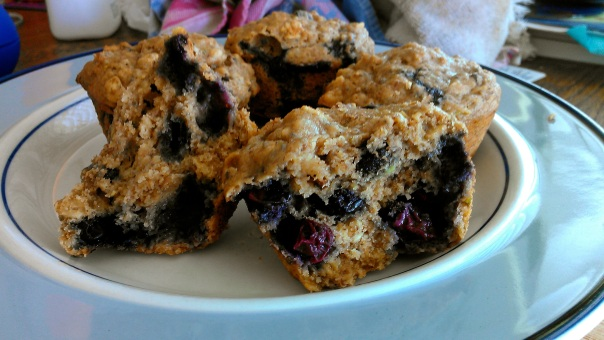 Scrumptious blueberry-banana muffins with raw cacao nibs!