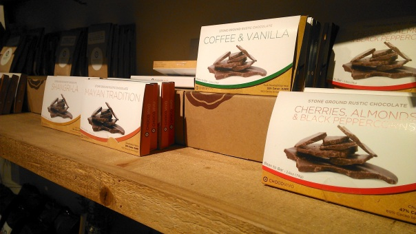 Chocovivo chocolate bars lining their adorable store shelves, and also available at local farmer's markets.