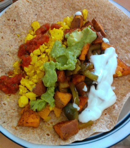 Vegan breakfast burrito in all its glory